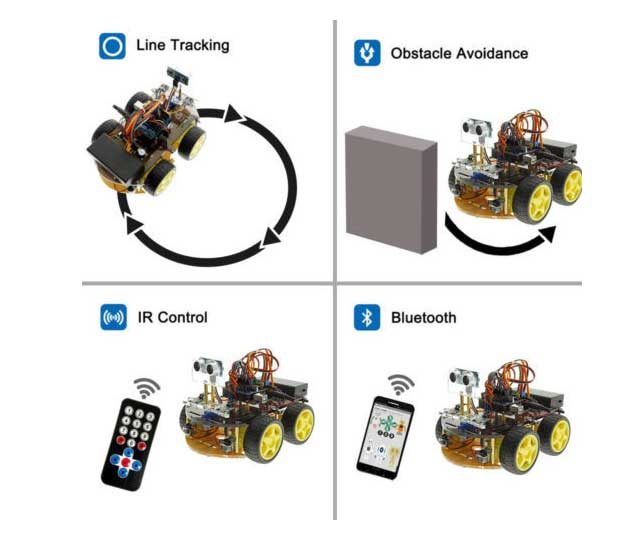 Intelligent Bluetooth Tracking/ Obstacle Avoidance Car with arduino UNO