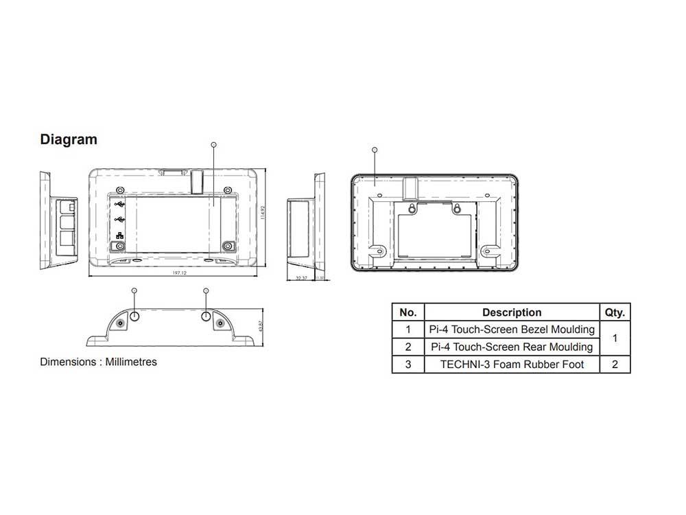 Raspberry Pi 7 Touchscreen Display Case - White for Raspberry Pi 4 Robots Cyprus Nicosia Limassol Famagusta Paphos Larnaca diagram